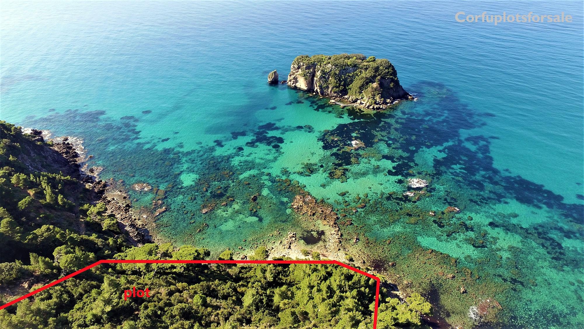 Plot on an emerald hidden beach, Sinarades, Corfu